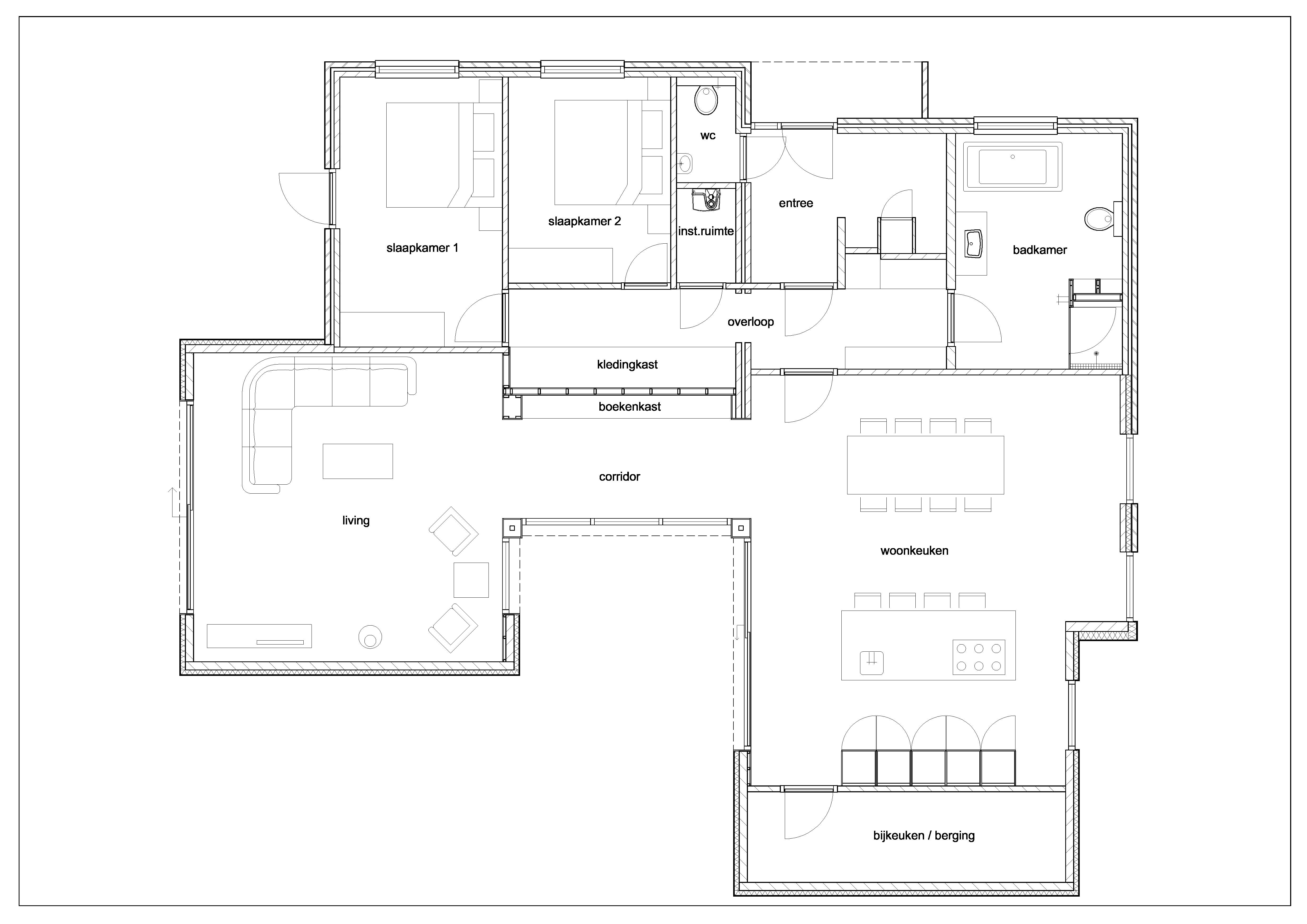 Uitbreiding bungalow met woonkamer en woonkeuken en een patio ...